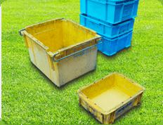 様々な形状タイプのプラスチックコンテナーを洗浄 色や大きさ・数量を問いません。